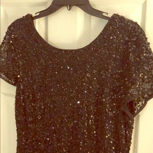 Adrianna Papell black sequin gown